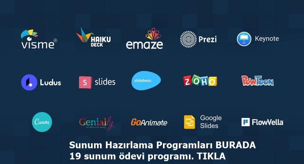 Sunum Hazırlama Programları BURADA, 19 sunum ödevi programı. TIKLA